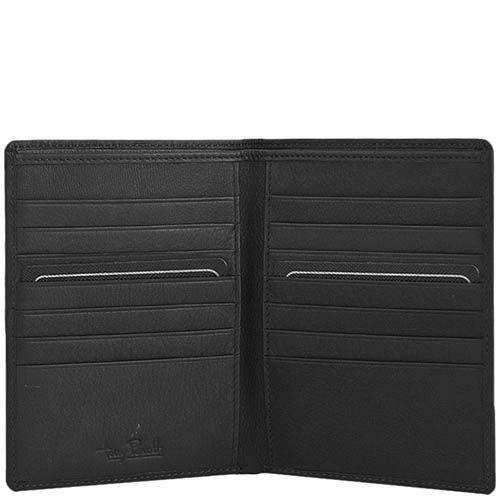 Вертикальное портмоне Tony Perotti Contatto из черной кожи с шильдой, фото