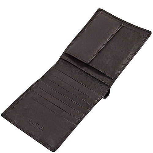 Коричневое горизонтальное портмоне Tony Perotti Contatto из зернистой кожи с шильдой, фото