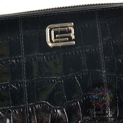 Портмоне женское Cavalli Class Keira кожаное черное большое на молнии, фото