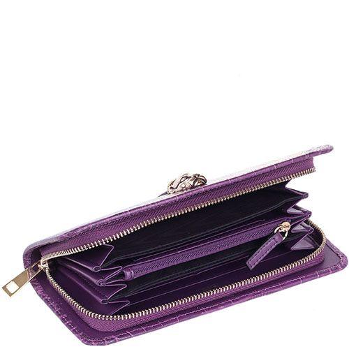 Портмоне женское Cavalli Class Daphne кожаное фиолетовое на молнии, фото