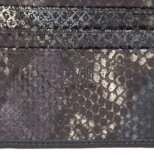 Портмоне Cavalli Class черного цвета из гладкой кожи с внутренней отделкой под кожу змеи зеленого цвета, фото