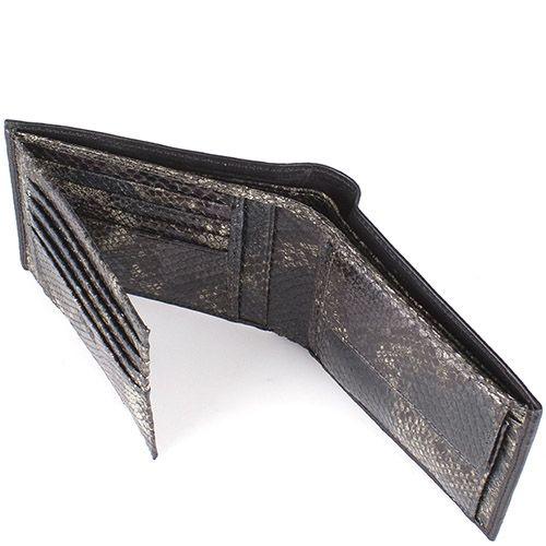 Портмоне Cavalli Class большое черного цвета с внутренней отделкой под кожу змеи, фото