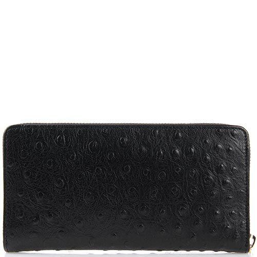 Женский кошелек Cavalli Class на молнии кожаный черный с логотипом в виде змеи, фото