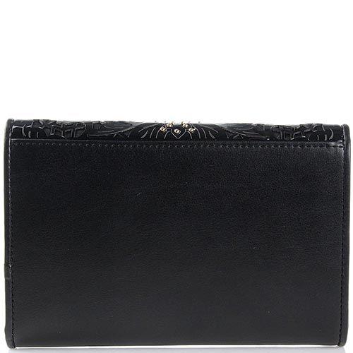 Портмоне женское Cavalli Class большое черного цвета с перфорацией на клапане, фото