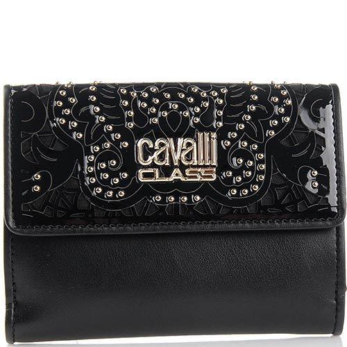 Портмоне женское Cavalli Class черного цвета с перфорацией на клапане, фото