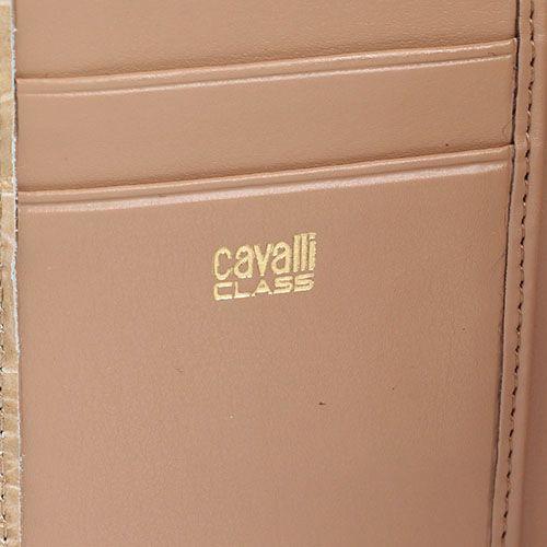 Портмоне женское Cavalli Class Daphne из кожи бежевого цвета с тиснением под крокодила, фото