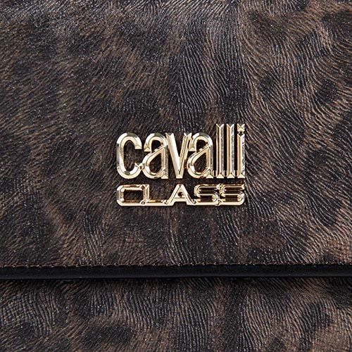 Портмоне женское Cavalli Class с леопардовым принтом и черной кожаной окантовкой, фото