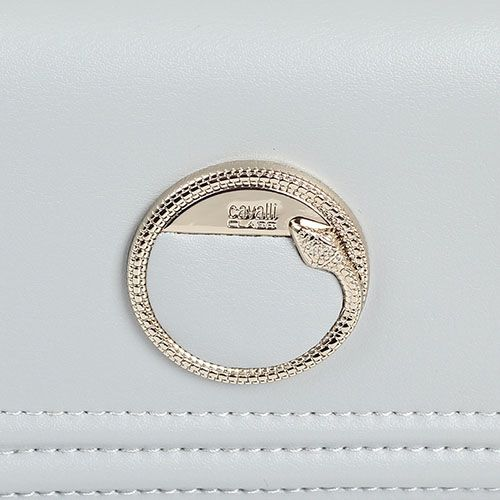 Кошелек Cavalli Class Bel Air кожаный серого цвета с декором в виде фирменной змеи, фото