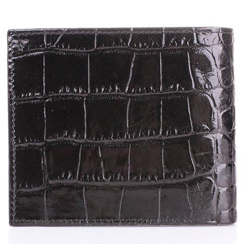Портмоне Cavalli Class Alexander черного цвета квадратное лаковое с тиснением под кожу крокодила, фото