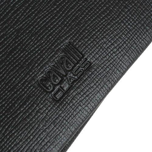 Мини портмоне Cavalli Class Astoria черного цвета с сафьяновой отделкой кожи, фото