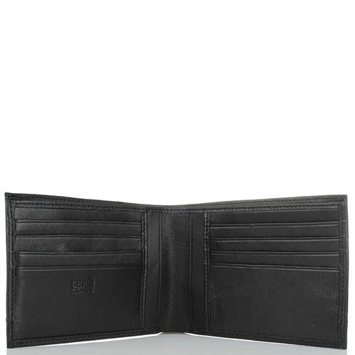 Портмоне мужское Cavalli Class Hoxton черного цвета из гладкой кожи с декоративным швом вдоль всей длины, фото