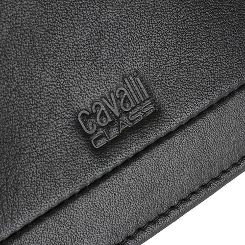 Портмоне Cavalli Class Hoxton черного цвета из гладкой кожи с декоративным швом, фото