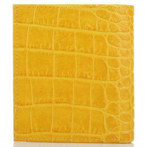 Мини портмоне Cavalli Class желтого цвета с тиснением под кожу крокодила, фото