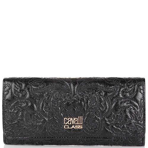 Портмоне Cavalli Class Chloe черного цвета узкое с вышитым узором, фото