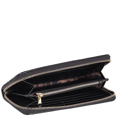 Портмоне Cavalli Class Chloe черного цвета с вышитым узором и на молнии, фото