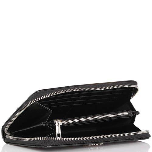 Портмоне Cavalli Class Jolie черного цвета с перфорированным узор серебристой подкладкой, фото