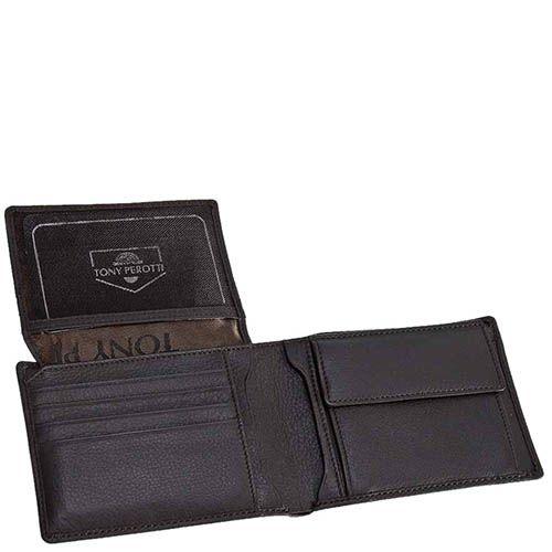 Классический кошелек Tony Perotti Contatto из зернистой коричневой кожи с шильдой, фото