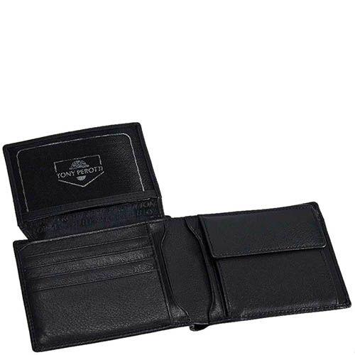 Черный мужской кошелек Tony Perotti Contatto с множеством отделений для карт, фото