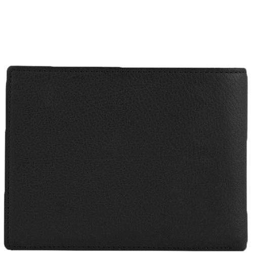 Горизонтальное черное портмоне Tony Perotti Contatto из зернистой кожи с шильдой, фото