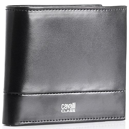 Портмоне Cavalli Class Executive из гладкой черной кожи с декоративной строчкой, фото