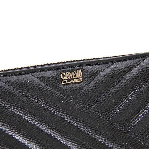 Портмоне женское Cavalli Class Idol черное со строчками, фото
