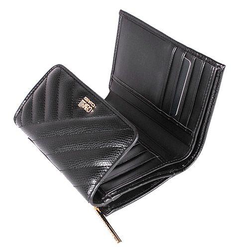 Портмоне Cavalli Class Idol черного цвета стеганое с внешней монетницей на молнии, фото