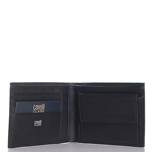 Черное портмоне Cavalli Class Neon Nappa с монетницей, фото