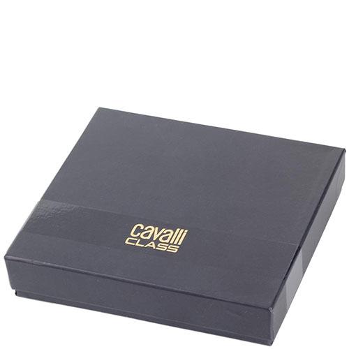 Кожаный кардхолдер Cavalli Class черного с бордовым цвета декорированный фирменной головой леопарда, фото