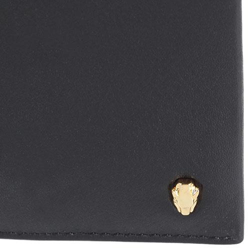 Кожаное мужское портмоне Cavalli Class с фирменным элементом в форме головы леопарда, фото