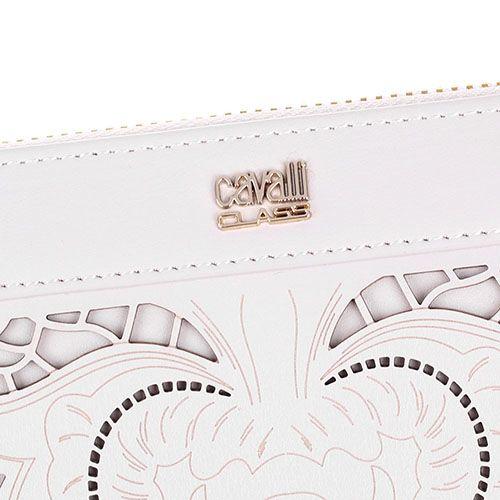 Портмоне женское Cavalli Class Icon Love Lace бежевого цвета с цветочной перфорацией, фото