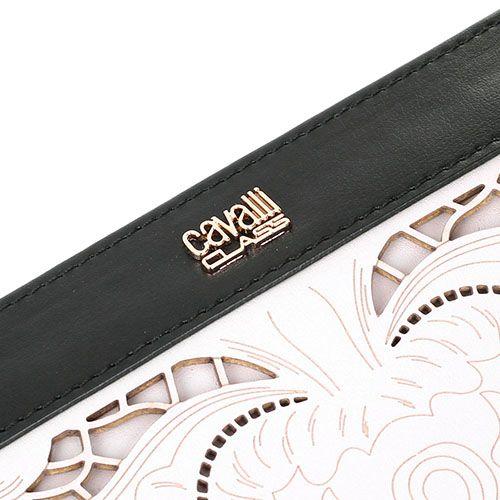 Портмоне женское Cavalli Class Icon Love Lace бежевого цвета с цветочной высечкой и черными деталями по периметру, фото