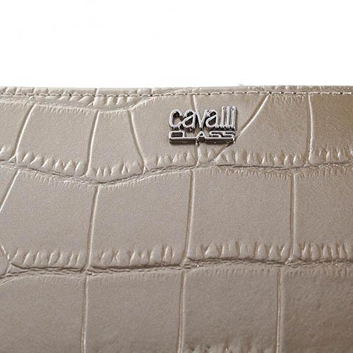 Кошелек Cavalli Class London золотистого цвета с тиснением Кроко, фото