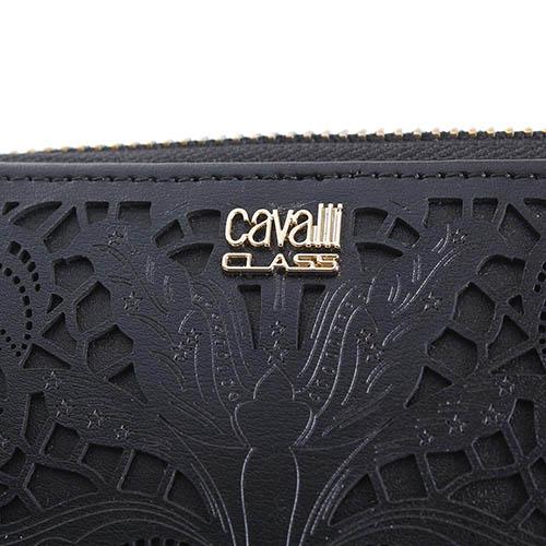 Кошелек Cavalli Class Stardust черного цвета с декоративной перфорацией, фото