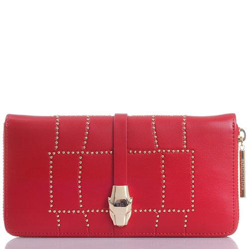 Кошелек из красной кожи Cavalli Class Croco Lux декорированный заклепками, фото