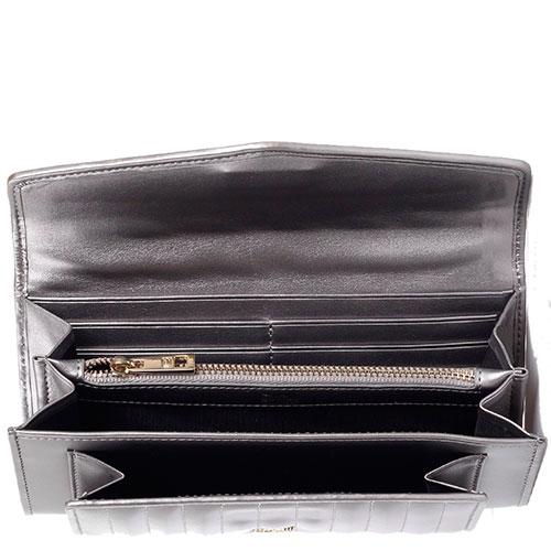Кошелек из кожи с паралельными строчками Cavalli Class Celebrity серебристого цвета, фото