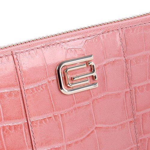 Портмоне женское Cavalli Class Keira кожаное светло-розового цвета большое на молнии, фото