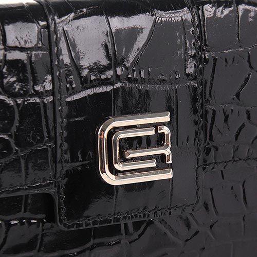 Портмоне женское Cavalli Class Keira кожаное лаковое черное, фото