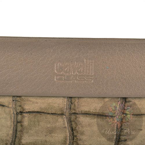 Кредитница Cavalli Class кожаная серо-бежевая под крокодила, фото