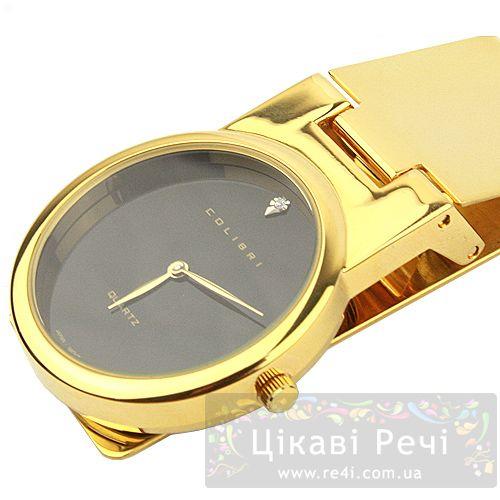 Зажим для денег - часы в желтом золоте с маленьким бриллиантом, фото