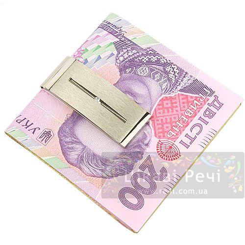 Зажим для денег Optic с белым топазом, фото