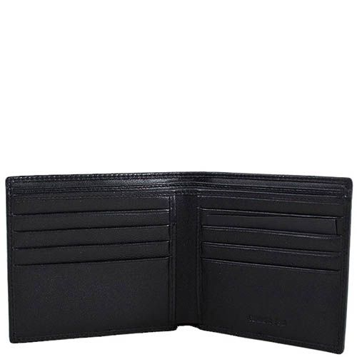 Черное портмоне Cerruti 1881 с множеством карманов и фирменным штампом, фото
