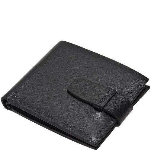 Черное портмоне из кожи Cerruti 1881 с застежкой-ремешком, фото