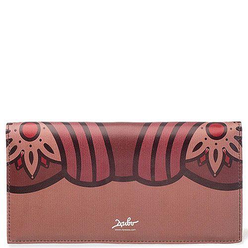 Кожаное портмоне с абстрактным принтом Диво Барокковая ласка бордового цвета, фото