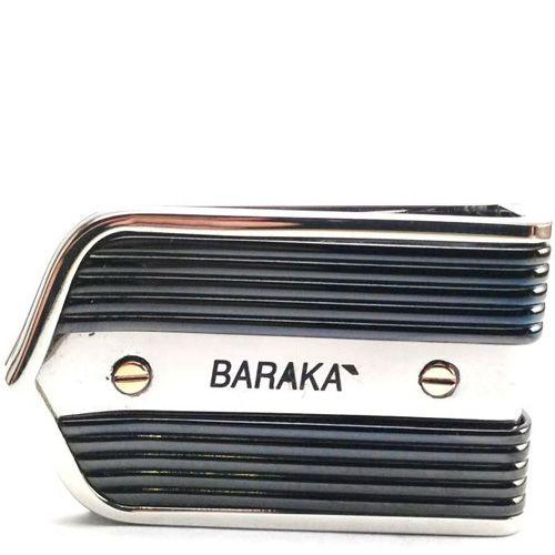 Зажим для денег Baraka Explore из полированной нержавеющей стали с черным покрытием и золотыми болтиками, фото