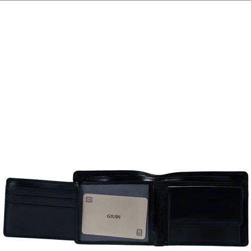 Небольшое горизонтальное портмоне Giudi Leather из черной кожи с тиснением, фото