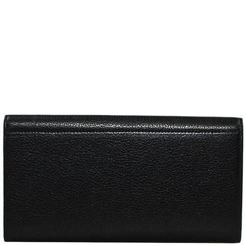 Горизонтальное унисекс портмоне Giudi Leather из натуральной черной крупнозернистой кожи, фото