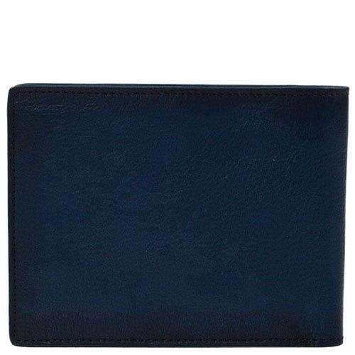 Вместительное синее портмоне Giudi Leather из кожи с тиснением, фото