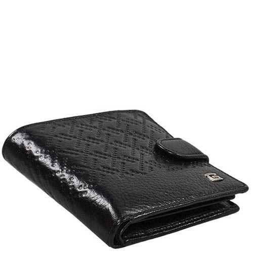 Черное кожаное портмоне Giudi Leather на застежке с декоративным тиснением, фото