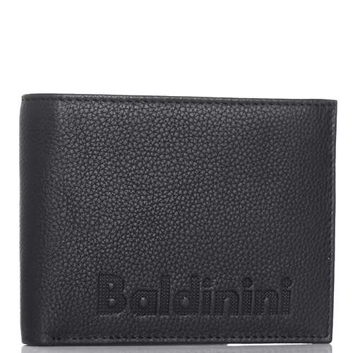 Черное портмоне Baldinini Charles из зернистой кожи, фото