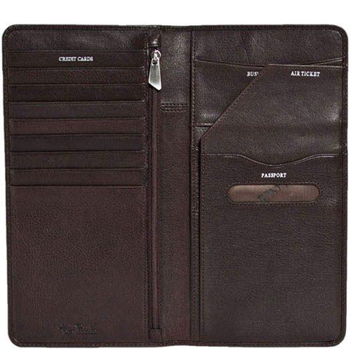 Стильный портмоне-тревеллер Tony Perotti Giugiaro из коричневой кожи, фото